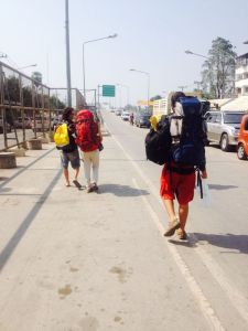 Walking over the border from Thailand into Myanmar