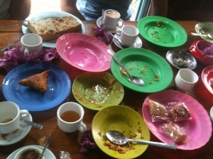 Breakfast at the Muslim tea house.